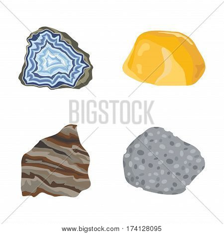 Collectionof semi precious gemstones vector stones and mineral colorful shiny jewelry material agate geology crystal isolated on white background. Semiprecious granite chalcedony beauty amethyst.