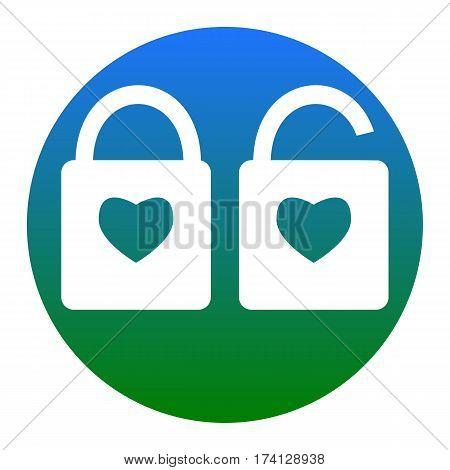 lock sign with heart shape. A simple silhouette of the lock. Shape of a heart. Vector. White icon in bluish circle on white background. Isolated.
