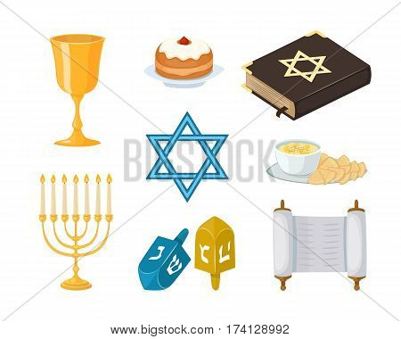 Judaism church traditional symbols icons set isolated hanukkah religious design and synagogue passover torah menorah holiday jew vector illustration. Israel hebrew culture symbols.