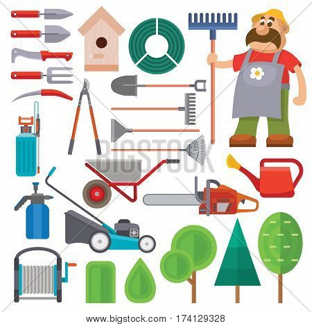 Garden equipment flat set vector and gardener character with beard and rake illustration. Set of agriculture farming tools on white. Spring garden equipment flat set. Vector watering green plants
