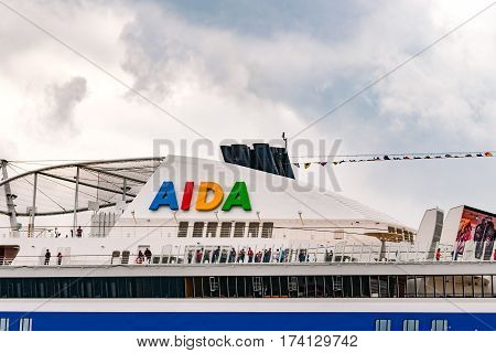 Rostock, Germany - August 2016: : cruise ship from aida lies in Warnemuende harbour