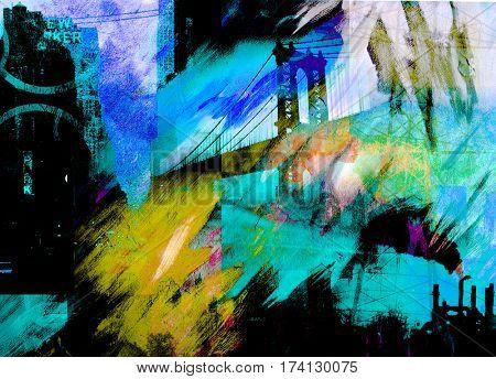 Manhattan bridge. Dramatic painting in dark colors.  3D Render