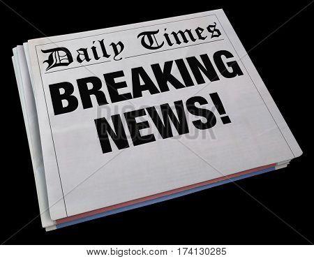 Breaking News Spinning Newspaper Headline 3d Illustration