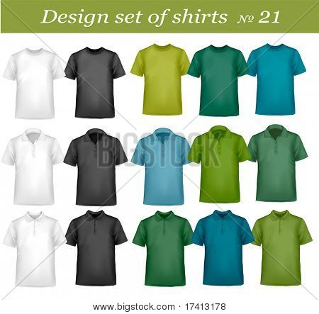Black, white and colored men polo and t-shirts. Photo-realistic vector illustration