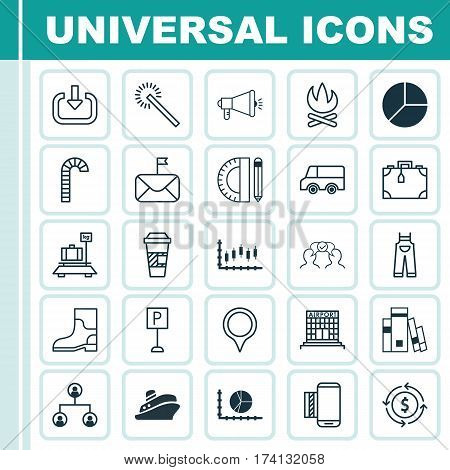 Set Of 25 Universal Editable Icons. Can Be Used For Web, Mobile And App Design. Includes Elements Such As Stock Market, Media Campaign, Cooperation And More.