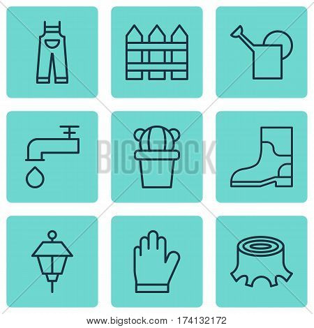 Set Of 9 Agriculture Icons. Includes Protection Mitt, Rubber Boot, Spigot And Other Symbols. Beautiful Design Elements.