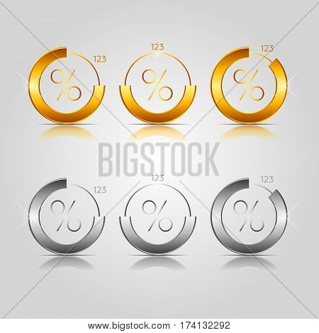 Gold and silver pie charts. Vector illustration