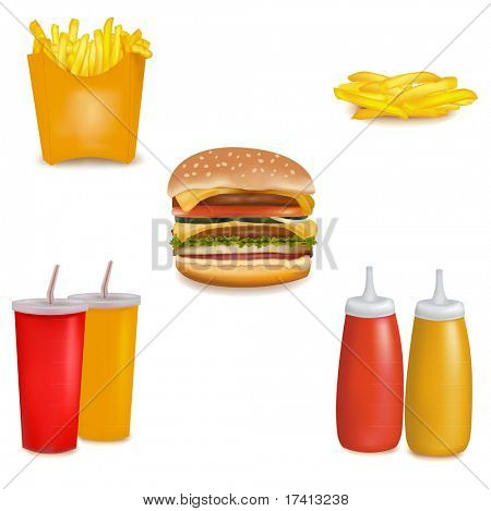 Photo-realistic vector. Group of fastfood products.