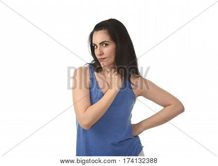 portrait of young beautiful hispanic woman thinking and wondering looking thoughtful as if considering options isolated on white background