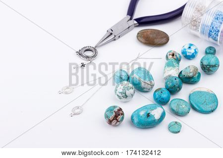 Glass Seed Beads, Turquoise Stones