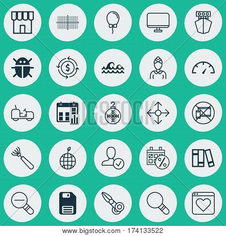 Set Of 25 Universal Editable Icons. Can Be Used For Web, Mobile And App Design. Includes Elements Such As Clippers, Speed Checker, Finance And More.