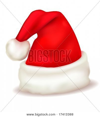 Red santa claus hat. Vector.
