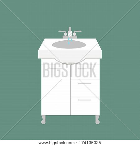 Bathroom washbasin icon colored with process water savings symbols hygiene and clean household washing cleaning beauty dryer vector illustration. Flat interior of wash place concept design.
