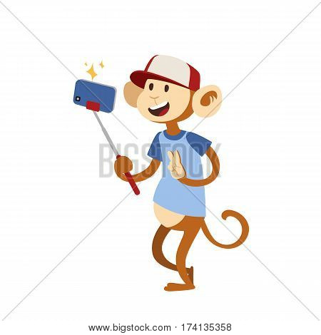 Funny picture monkey photographer mamal person take selfie stick in his hand and cute animal taking a selfie together with smartphone camera vector illustration. Camera photo pet character.