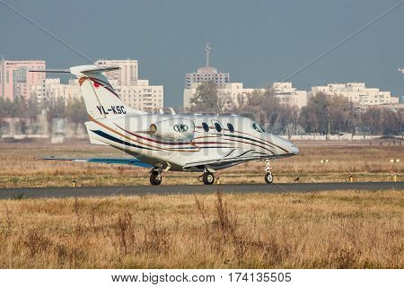 Kiev Ukraine - November 5 2011: Raytheon 390 Premier I is taking off from the airport on a sunny autumn day