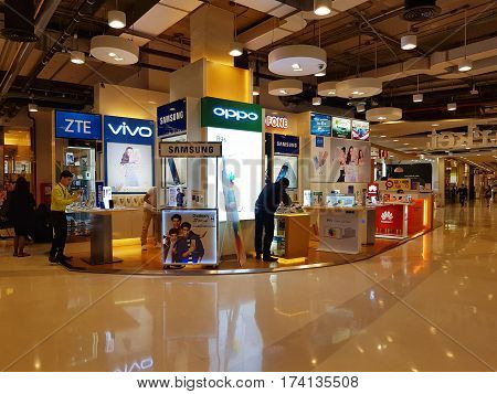 CHIANG RAI THAILAND - MARCH 1 : Department store interior view with smartphone shop at Central Plaza department store on March 1 2017 in Chiang rai Thailand