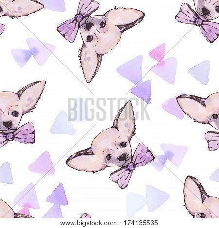 Watercolor dog seamless pattern with abstract backdrop