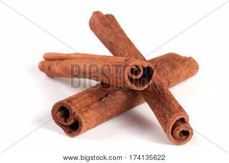 three cinnamon sticks isolated on white background.