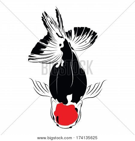 goldfish carp. A fish. Goldfish cards black silhouette. Goldfish. Carp black silhouette vector isolated on a white background.