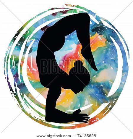 Women silhouette on galaxy astral background.Scorpion yoga pose. Vrischikasana. Vector illustration.