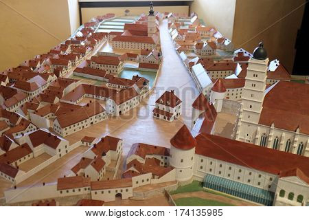 ZAGREB, CROATIA - FEBRUARY 15: Model of of the Zagreb Kaptol with the Cathedral exhibited at the Museum of the City of Zagreb, on February 15, 2015.