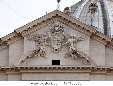ROME, ITALY - SEPTEMBER 01: Coat of arms of Pope Alexander VII Chigi on the portal of Sant Andrea della Valle Church in Rome, Italy on September 01, 2016.