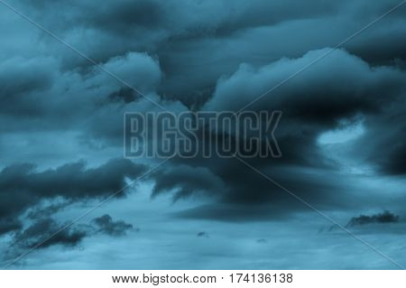 Dramatic Cloudy Sky with Lightning and Cumulus Clouds Outdoors. Turquoise Toned