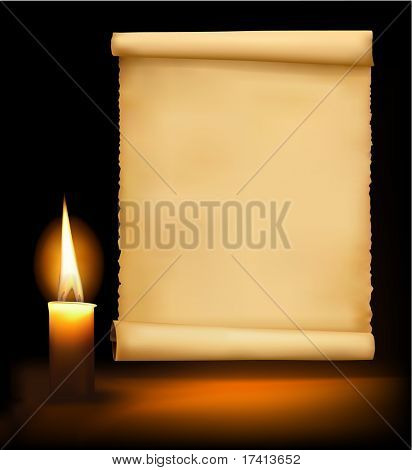 Background with old paper, candle and a candle. Vector illustration.