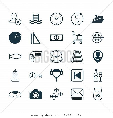 Set Of 25 Universal Editable Icons. Can Be Used For Web, Mobile And App Design. Includes Elements Such As Vga Cord, World Travel, Basin Ladder And More.