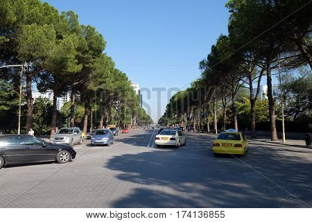 TIRANA, ALBANIA - SEPTEMBER 27: View along the boulevard Bulevardi Deshmoret e Kombit in Tirana, Albania on September 27, 2016.