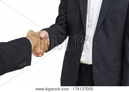 scene of businessman shakehand for commit on isolate background - can use to display or montage on product