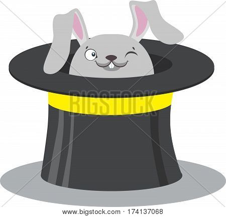 Circus Bunny In A Hat For A Circus Show. Focus. Circus Concept. Flat Cartoon Vector Illustration