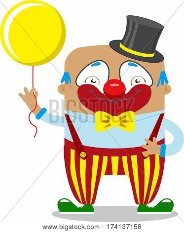 Circus clown artist In classic outfit with red nose and make up holding balloon In Circus Show. Circus concept. Flat cartoon vector illustration