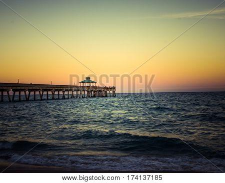 Sunset golden hour with pier deerfield beach