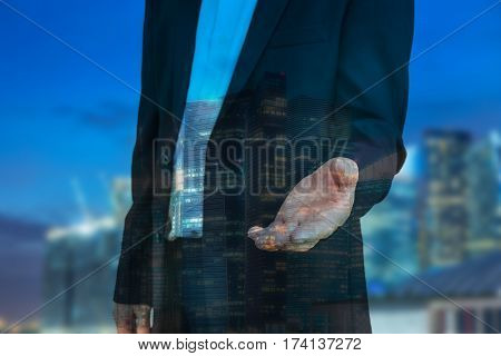abstract double expore of businessman and night cityscape for invite concept - can use to display or montage on product