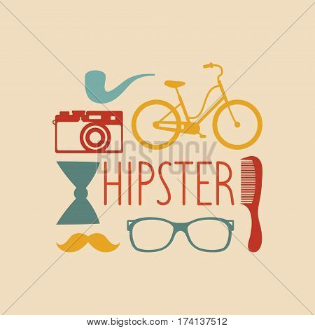 Vector set of hipster elements in flat style. Hipster vintage collection with fashion sunglasses, vintage camera, comb, bow, tobacco pipe, mustache and text Hipster