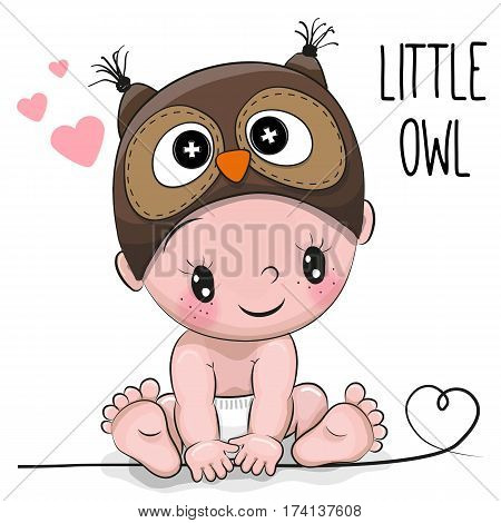 Cute Cartoon Baby boy in a Owl hat on a white background
