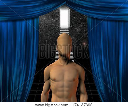 Faceless man and theater curtain opening  3D Render