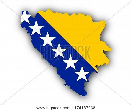 Map And Flag Of Bosnia And Herzegovina