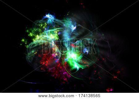 Colorful fractal nebula on black background
