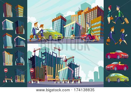 Vector cartoon illustration of an urban landscape with large modern buildings, cars and urban residents. Construction site with unfinished buildings. The concept of urban life.