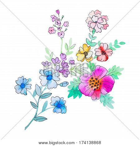 Watercolor flowers illustration. Isolated composition. Good for greeting cards, scrapbook and etc.