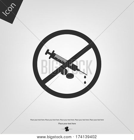 No narcotic icon, gray background. Vector illustration.