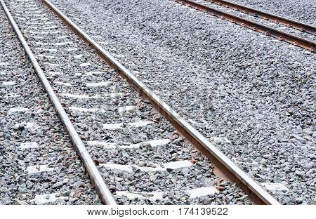 New railway line after the maintenance time in the rural of Thailand.
