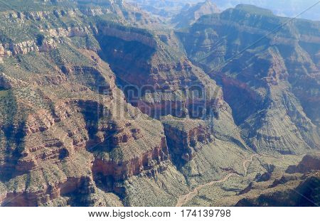 View of the Grand Canyon in Arizona United States aerial view