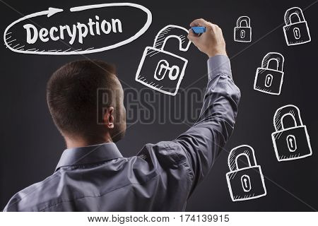 Technology, Internet, Business And Marketing. Young Business Man Writing Word: Decryption