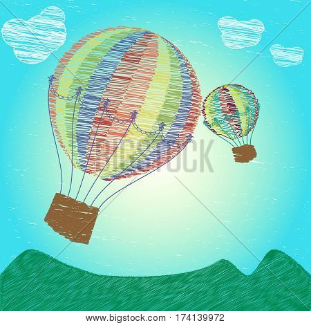 Childlike drawing hot air balloons flying on the sky over the mountains