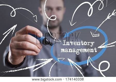 Technology, Internet, Business And Marketing. Young Business Man Writing Word: Inventory Management