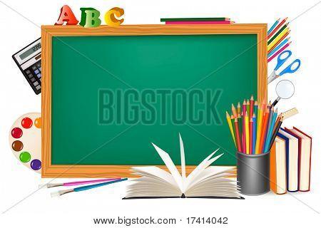 Regreso a la escuela. Escritorio verde con útiles escolares. Vector.