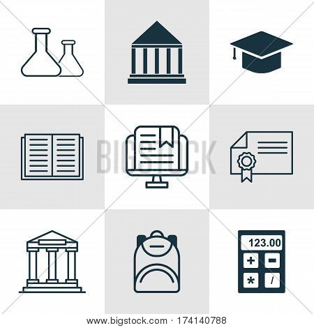 Set Of 9 School Icons. Includes Electronic Tool, Diploma, Haversack And Other Symbols. Beautiful Design Elements.